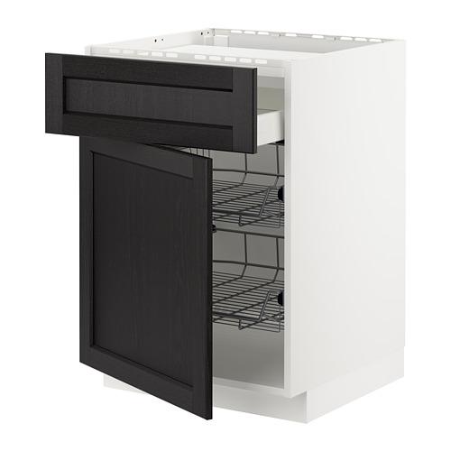 METOD/MAXIMERA - base cab f hob/drawer/2 wire bskts, white/Lerhyttan black stained   IKEA Hong Kong and Macau - PE677951_S4