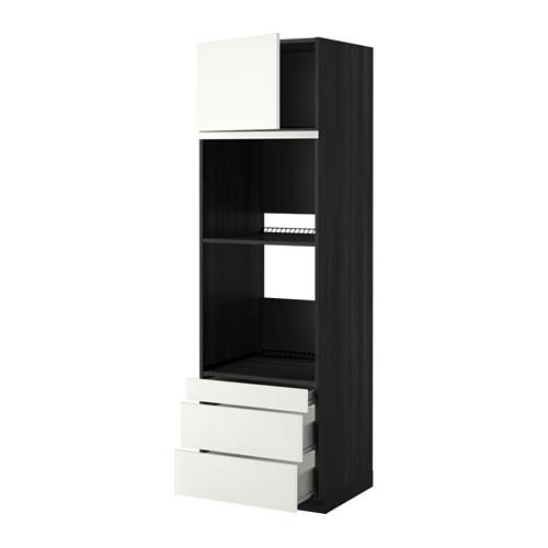 METOD - 焗爐用高櫃連抽屜櫃門組合, 黑色 Förvara/Häggeby 白色   IKEA 香港及澳門 - PE352426_S4