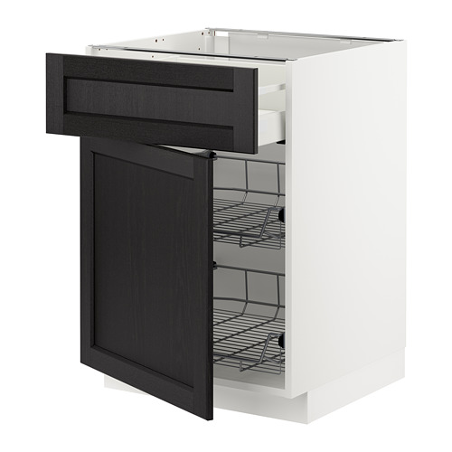 METOD/MAXIMERA - base cab w wire basket/drawer/door, white/Lerhyttan black stained | IKEA Hong Kong and Macau - PE677972_S4