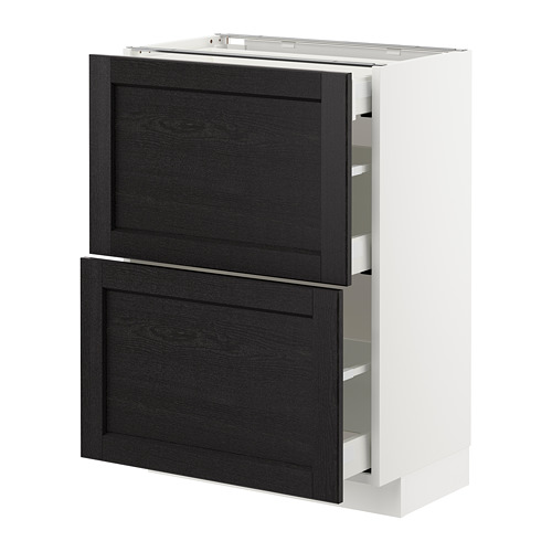 METOD - base cab with 2 fronts/3 drawers, white Maximera/Lerhyttan black stained | IKEA Hong Kong and Macau - PE677980_S4
