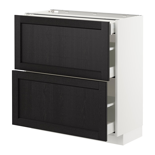 METOD - base cab with 2 fronts/3 drawers, white Maximera/Lerhyttan black stained   IKEA Hong Kong and Macau - PE677981_S4