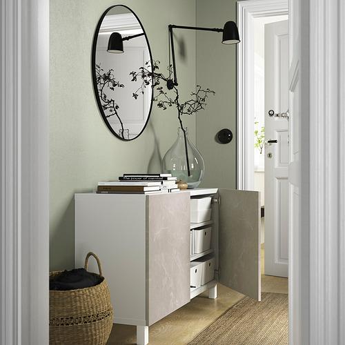 BESTÅ - 貯物組合連門, white Bergsviken/Stubbarp/beige marble effect   IKEA 香港及澳門 - PE823349_S4