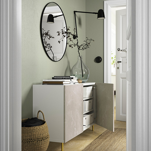 BESTÅ - 貯物組合連門, white Bergsviken/Ösarp/beige marble effect   IKEA 香港及澳門 - PE823351_S4