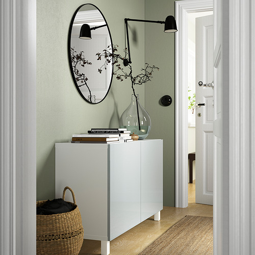 BESTÅ - 貯物組合連門, white Selsviken/Stubbarp/high-gloss light grey-blue   IKEA 香港及澳門 - PE823352_S4