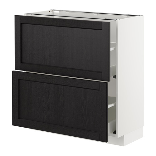 METOD - base cabinet with 2 drawers, white Maximera/Lerhyttan black stained | IKEA Hong Kong and Macau - PE678063_S4
