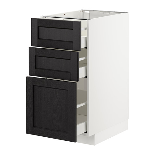 METOD - base cabinet with 3 drawers, white Maximera/Lerhyttan black stained | IKEA Hong Kong and Macau - PE678066_S4