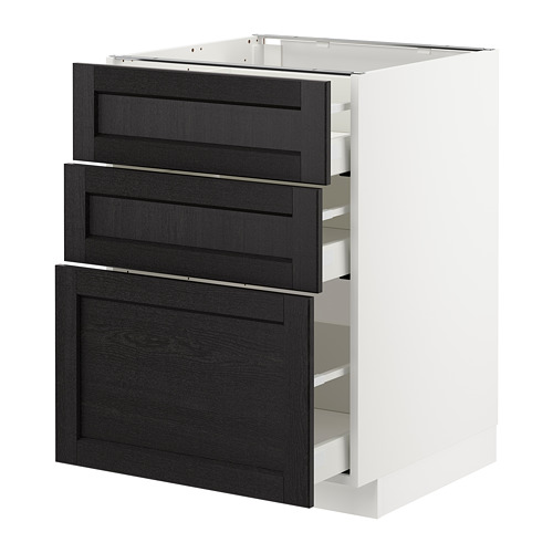 METOD - base cabinet with 3 drawers, white Maximera/Lerhyttan black stained | IKEA Hong Kong and Macau - PE678067_S4