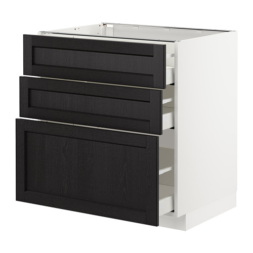 METOD - base cabinet with 3 drawers, white Maximera/Lerhyttan black stained | IKEA Hong Kong and Macau - PE678068_S4
