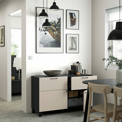 BESTÅ - 貯物組合連門/抽屜, black-brown/Lappviken/Stubbarp light grey-beige | IKEA 香港及澳門 - PE823393_S4