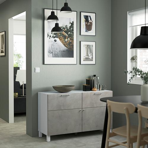 BESTÅ - 貯物組合連門/抽屜, white Kallviken/Stubbarp/light grey concrete effect | IKEA 香港及澳門 - PE823489_S4