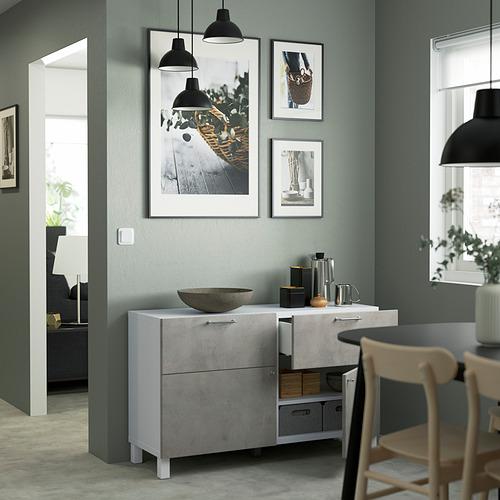 BESTÅ - 貯物組合連門/抽屜, white Kallviken/Stubbarp/light grey concrete effect | IKEA 香港及澳門 - PE823490_S4