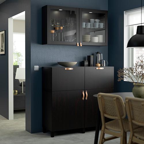 BESTÅ - 貯物組合連門/抽屜, black-brown/Lappviken/Stubbarp black-brown clear glass | IKEA 香港及澳門 - PE823560_S4