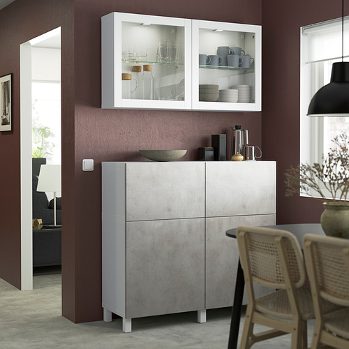 BESTÅ - 貯物組合連門/抽屜, white Kallviken/Stubbarp/light grey concrete effect | IKEA 香港及澳門 - PE823536_S4
