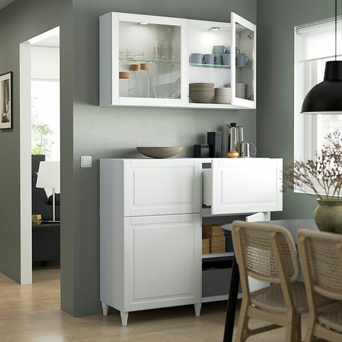 BESTÅ - 貯物組合連門/抽屜, white Smeviken/Ostvik/Kabbarp white clear glass | IKEA 香港及澳門 - PE823532_S4