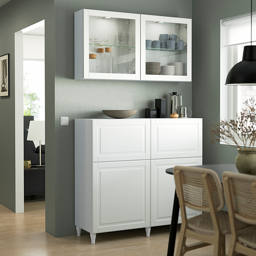 BESTÅ - 貯物組合連門/抽屜, white Smeviken/Ostvik/Kabbarp white clear glass | IKEA 香港及澳門 - PE823533_S4