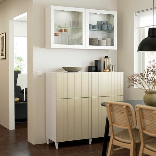 BESTÅ - 貯物組合連門/抽屜, white Sutterviken/Kabbarp/grey-beige clear glass | IKEA 香港及澳門 - PE823545_S4