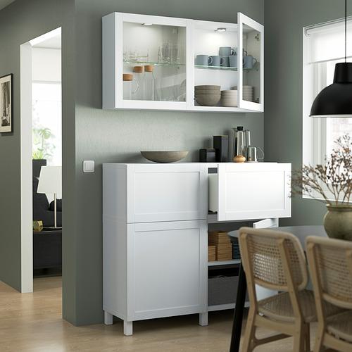 BESTÅ - 貯物組合連門/抽屜, white/Hanviken/Stubbarp white clear glass   IKEA 香港及澳門 - PE823517_S4