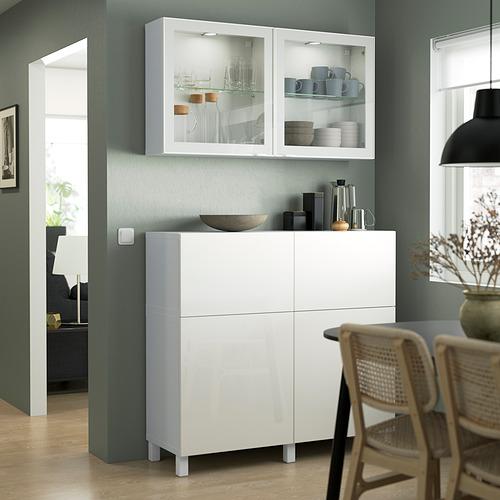 BESTÅ - 貯物組合連門/抽屜, white/Selsviken/Stubbarp high-gloss/white clear glass   IKEA 香港及澳門 - PE823539_S4