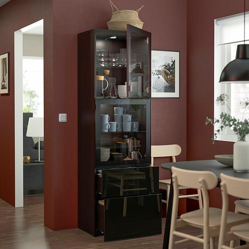 BESTÅ - 玻璃門貯物組合, black-brown/Selsviken high-gloss/black clear glass   IKEA 香港及澳門 - PE823590_S4