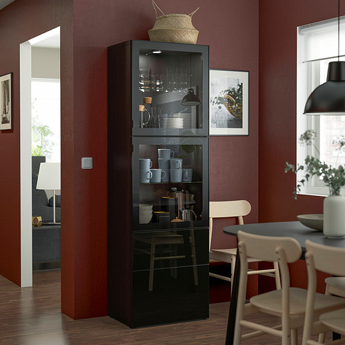 BESTÅ - 玻璃門貯物組合, black-brown/Selsviken high-gloss/black clear glass   IKEA 香港及澳門 - PE823591_S4