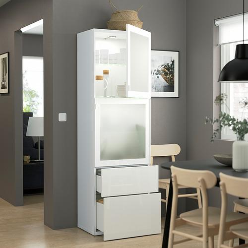 BESTÅ - 玻璃門貯物組合, white/Selsviken high-gloss/white frosted glass | IKEA 香港及澳門 - PE823570_S4