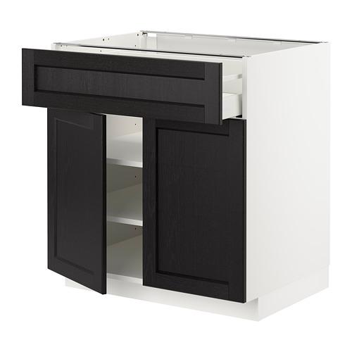 METOD/MAXIMERA - 雙門地櫃連抽屜, white/Lerhyttan black stained   IKEA 香港及澳門 - PE678155_S4