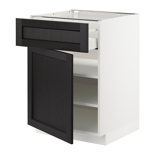 METOD/MAXIMERA - base cabinet with drawer/door, white/Lerhyttan black stained | IKEA Hong Kong and Macau - PE678158_S4