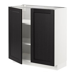 METOD - 地櫃連層板/一對門, 白色/Lerhyttan 染黑色 | IKEA 香港及澳門 - PE678172_S3
