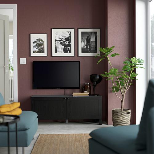 BESTÅ - TV bench with doors, black-brown/Hanviken/Stubbarp black-brown | IKEA Hong Kong and Macau - PE823691_S4