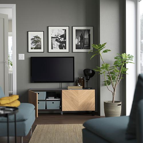 BESTÅ - 電視几連門, black-brown/Hedeviken/Stubbarp oak veneer | IKEA 香港及澳門 - PE823672_S4