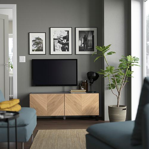 BESTÅ - 電視几連門, black-brown/Hedeviken/Stubbarp oak veneer | IKEA 香港及澳門 - PE823625_S4