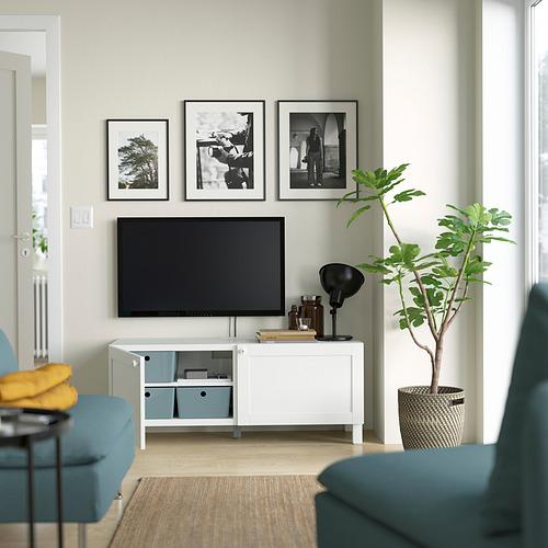BESTÅ - TV bench with doors, white Hanviken/Stubbarp/white   IKEA Hong Kong and Macau - PE823639_S4
