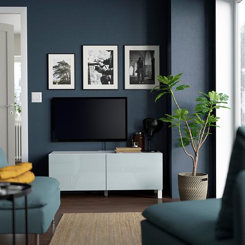 BESTÅ - TV bench with doors, white Selsviken/Stubbarp/light grey-blue | IKEA Hong Kong and Macau - PE823648_S4