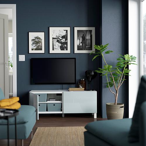 BESTÅ - TV bench with doors, white Selsviken/Stubbarp/light grey-blue | IKEA Hong Kong and Macau - PE823682_S4