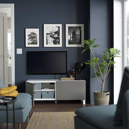 BESTÅ - TV bench with doors, white Västerviken/Stubbarp/grey   IKEA Hong Kong and Macau - PE823650_S4