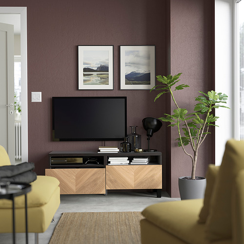 BESTÅ - 電視几連抽屜, black-brown Hedeviken/Stubbarp/oak veneer | IKEA 香港及澳門 - PE823774_S4