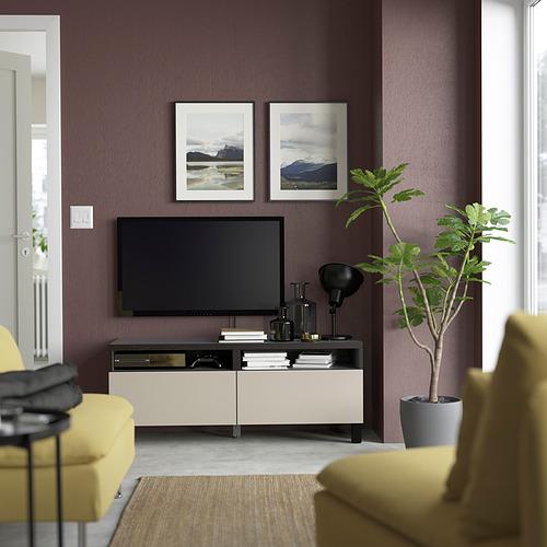 BESTÅ - TV bench with drawers, black-brown/Lappviken/Stubbarp light grey/beige | IKEA Hong Kong and Macau - PE823718_S4