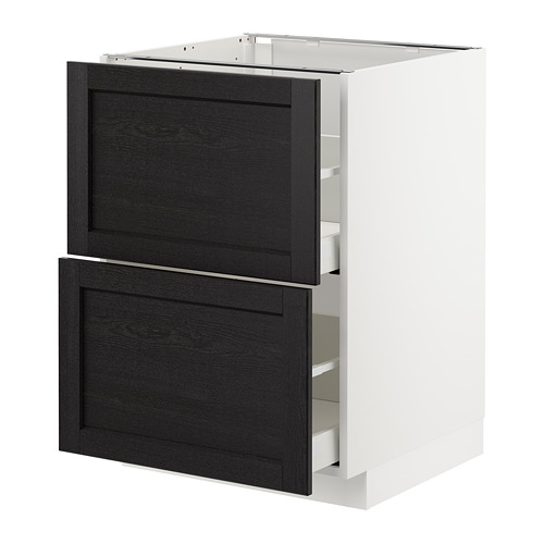 METOD - base cb 2 fronts/2 high drawers, white Maximera/Lerhyttan black stained | IKEA Hong Kong and Macau - PE678190_S4