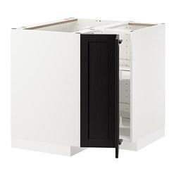 METOD - corner base cabinet with carousel, white/Lerhyttan black stained | IKEA 香港及澳門 - PE678208_S3