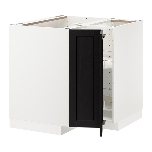 METOD - corner base cabinet with carousel, white/Lerhyttan black stained | IKEA Hong Kong and Macau - PE678208_S4