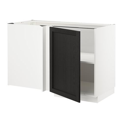 METOD - corner base cabinet with shelf, white/Lerhyttan black stained | IKEA Hong Kong and Macau - PE678209_S4