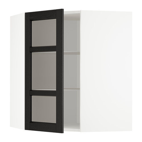 METOD - corner wall cab w shelves/glass dr, white/Lerhyttan black stained | IKEA Hong Kong and Macau - PE678215_S4