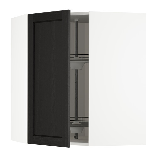 METOD - corner wall cabinet with carousel, white/Lerhyttan black stained | IKEA Hong Kong and Macau - PE678218_S4