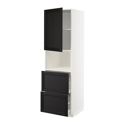 METOD/MAXIMERA - hi cab f micro w door/2 drawers, white/Lerhyttan black stained | IKEA Hong Kong and Macau - PE678238_S4