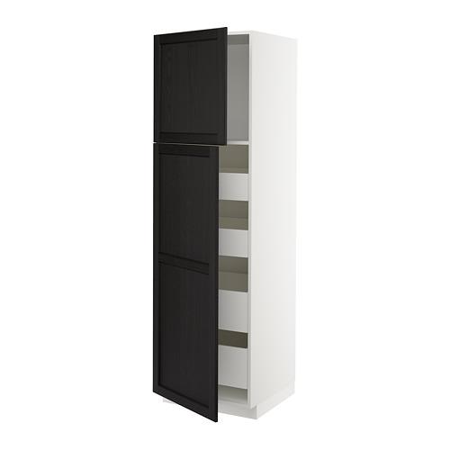 METOD/MAXIMERA - hi cab w 2 doors/4 drawers, white/Lerhyttan black stained | IKEA 香港及澳門 - PE678253_S4