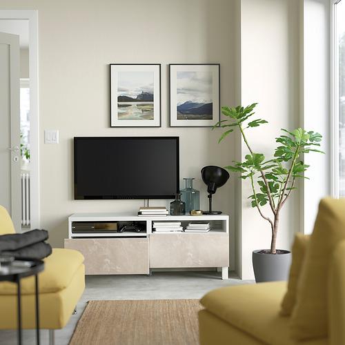 BESTÅ - 電視几連抽屜, white/Bergsviken/Stubbarp beige | IKEA 香港及澳門 - PE823763_S4