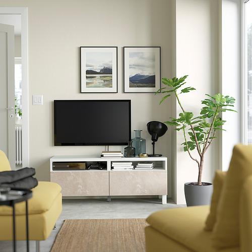 BESTÅ - 電視几連抽屜, white/Bergsviken/Stubbarp beige | IKEA 香港及澳門 - PE823764_S4