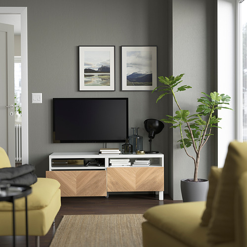 BESTÅ - 電視几連抽屜, white/Hedeviken/Stubbarp oak veneer | IKEA 香港及澳門 - PE823734_S4