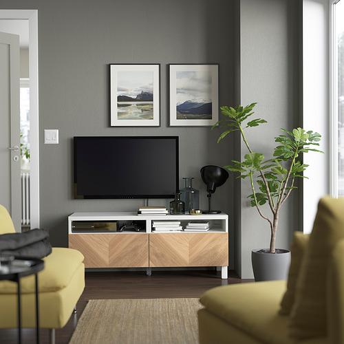 BESTÅ - 電視几連抽屜, white/Hedeviken/Stubbarp oak veneer | IKEA 香港及澳門 - PE823787_S4