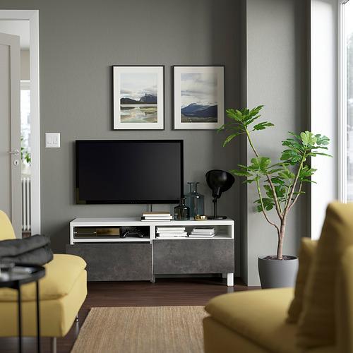 BESTÅ - TV bench with drawers, white/Kallviken/Stubbarp dark grey | IKEA Hong Kong and Macau - PE823740_S4